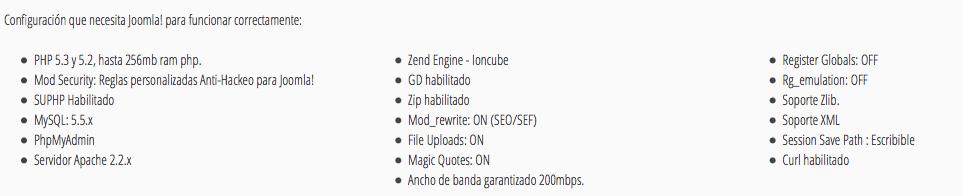Características servidores joomla