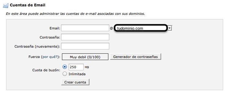 como crear una cuenta email cpanel