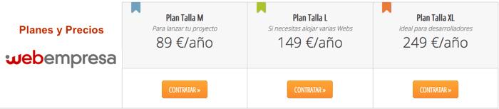 Planes de precios Webempres