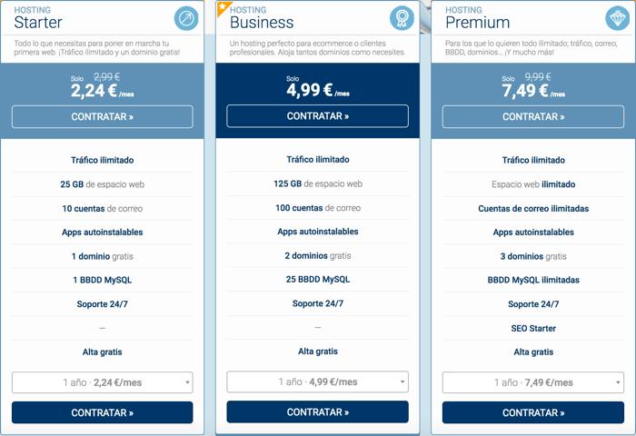 Precios y planes de host europe