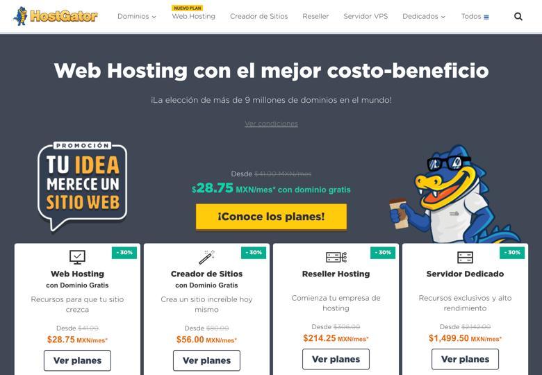 Hostgator para webs de méxico