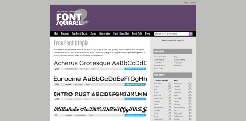 Pantallazo de Font Squirrel