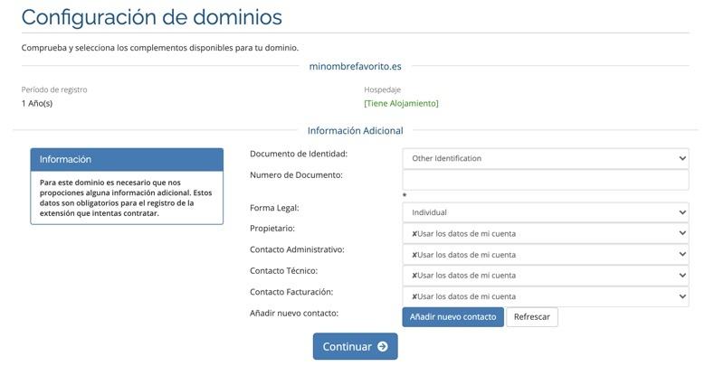 Registro hosting