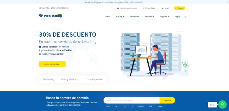 webhosting.com.bo en bolivia