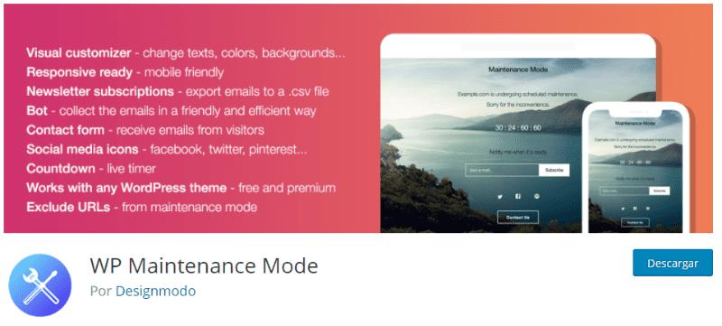 Plugin WP Maintenance Mode