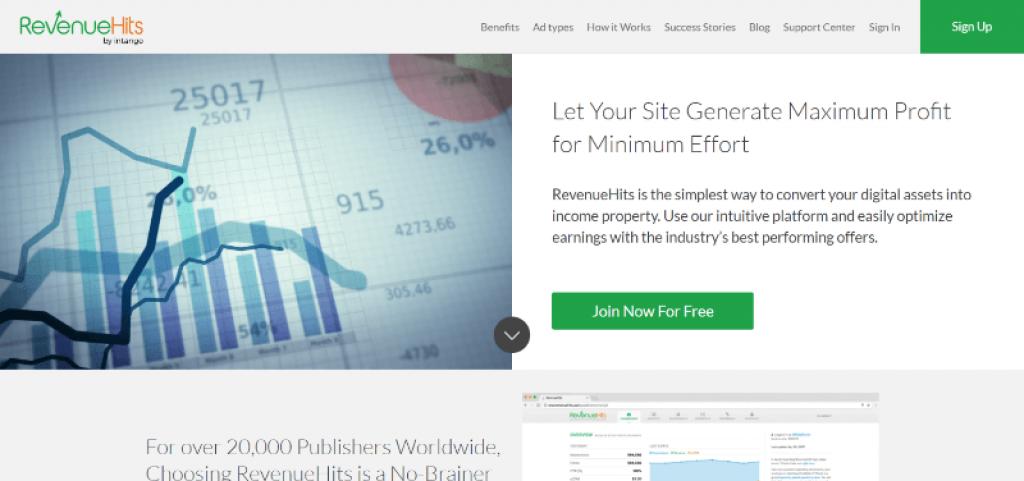 pagina principal RevenueHits