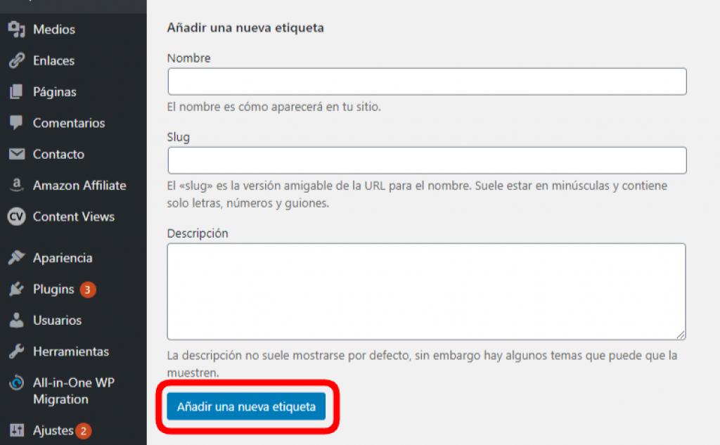 añadir etiqueta WordPress