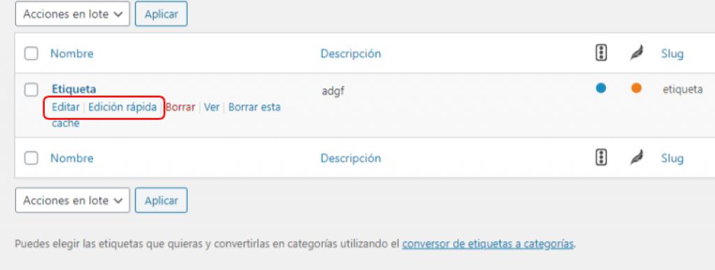 Editar etiqueta WordPress