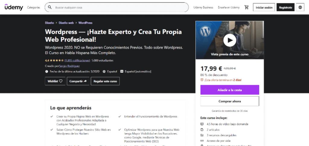Curso WordPress Udemy