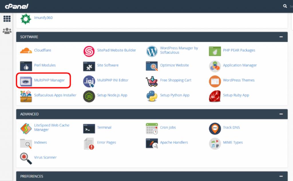 opción para actualizar php en cPanel