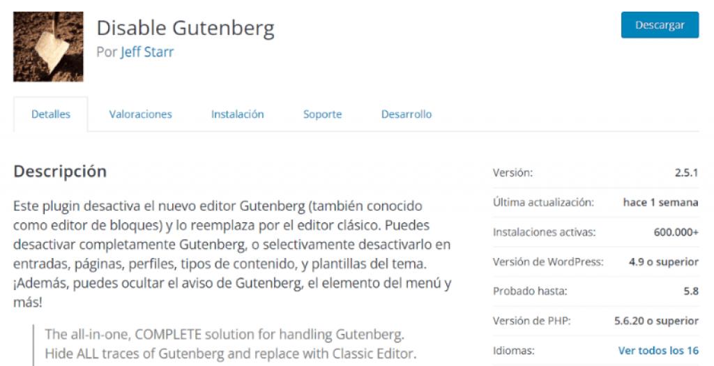 Plugin disable Gutenberg