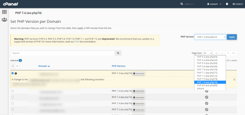 Seleccionar versión php en cPanel